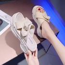 增高拖鞋 蝴蝶結鬆糕厚底交叉拖鞋女夏季新款外穿時尚百搭增高涼拖-Ballet朵朵