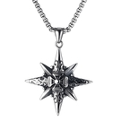 《QBOX 》FASHION 飾品【C21N1897】精緻個性歐美北極星十字架鑄造鈦鋼墬子項鍊/掛飾