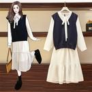 VK精品服飾 韓國風名媛針織馬甲雪紡連身裙套裝長袖裙裝