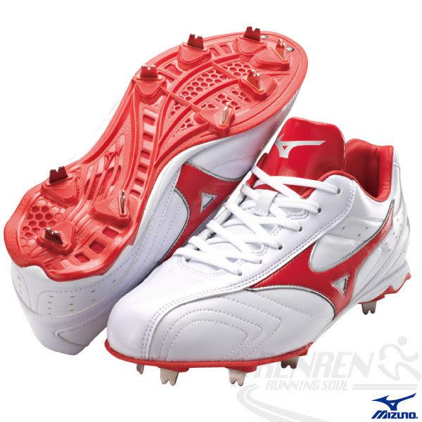 MIZUNO美津濃 棒球釘鞋(白*紅) ACCEL TRIGGER 日本向輕量固定釘設計 附紅色鞋帶11GM146062