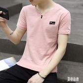 男士棉麻短袖T恤 潮流夏季圓領中袖上衣中國風薄款休閒打底衫 QX11536 『男神港灣』