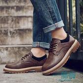 皮鞋男秋季商務休閒鞋防臭工裝鞋潮流透氣馬丁靴耐磨男士皮鞋【一條街】