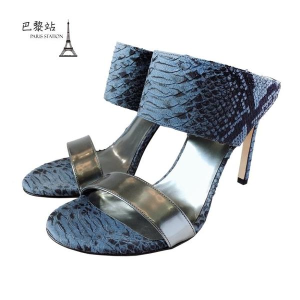【巴黎站二手名牌專賣店】*全新現貨*Stuart Weitzman 真品*藍色皮革高跟鞋(38.5號)