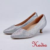 kadia .典雅氣質水鑽尖頭斜口高跟鞋8518 15 銀色