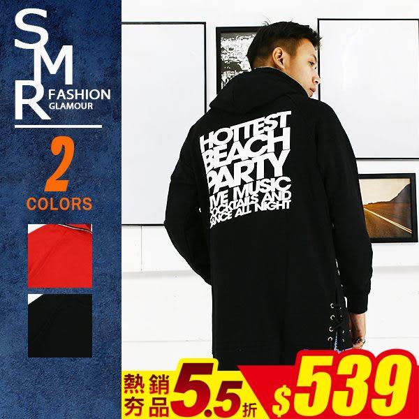 帽T-嘻哈長版綁帶帽T-街潮穿搭首選款《9997712》紅色.黑色【現貨+預購】『SMR』