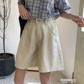 女裝韓版寬鬆百搭闊腿褲高腰牛仔褲學生休閒褲五分褲短褲  凱斯盾數位3C