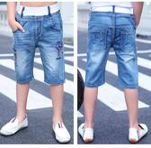 兒童裝薄款馬褲中童七分褲大童短褲男童牛仔褲 免運
