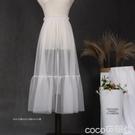 熱賣內搭襯裙2021春秋新款透明網紗裙拼接襯裙中長款單層透視半身裙蕾絲邊罩裙 【618 狂歡】