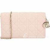 Dior Lady Dior 字母吊飾頂級籐格小羊皮手拿/鍊帶包(柔粉色) 1930294-05