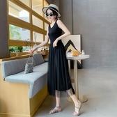 春季吊帶紗裙莫代爾純色內搭網紗打底長裙大碼蕾絲背心黑色洋裝 伊衫風尚
