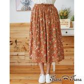 【Tiara Tiara】百貨同步aw 滿版花朵鬆緊腰綁帶半身裙(橘)