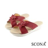 SCONA 蘇格南 真皮 舒適楔型涼拖鞋 紅色 22816-2