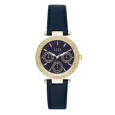 ELLE Marais 系列點綴生活晶鑽三眼腕錶-藏藍