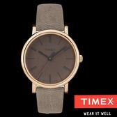 TIMEX 天美時 咖啡玫瑰金框皮帶女錶x38mm・冷光面板・TXT2P96300・公司貨|名人鐘錶高雄門市
