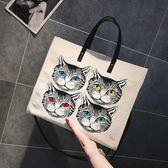 手提包夏款包包2018新款女韓版百搭大容量帆布側背包貓頭印花手提斜挎包 萬聖節