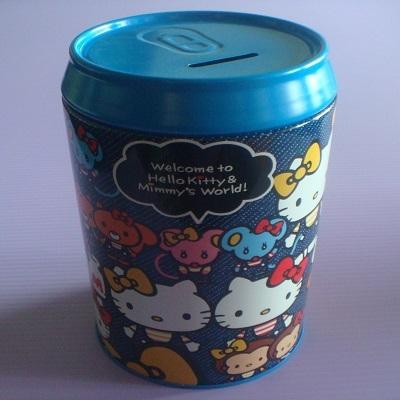 Hello Kitty 雙胞胎圓筒型存錢筒/撲滿/收納盒