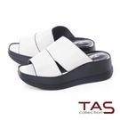 TAS雙側鏤空寬繫帶厚底楔型拖鞋-時尚白