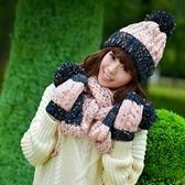 圍巾+毛帽+手套羊毛三件套-韓版多彩防寒配件組合5色71an12【巴黎精品】