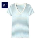 Gap女裝 條紋V領短袖T恤 440753-藍色條紋