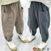 兒童長褲男童寬鬆夏季棉麻長褲薄款燈籠褲潮流【淘夢屋】