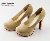 跟鞋☆PINKPOKO粉紅波可☆簡約素色經典豹紋百搭不敗紅底高跟鞋~5色#2254