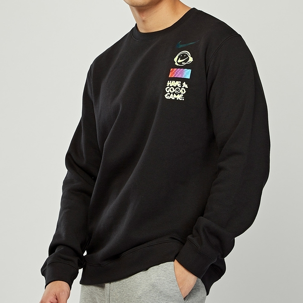 Nike AS M NSW Club CRW COG 男款 黑 運動 休閒 圓領 塗鴉 長袖 DC3938-010