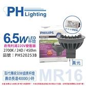 PHILIPS飛利浦 LED 6.5W 2700K 黃光 MR16 24D 杯燈 附220V變壓器 _ PH520253B