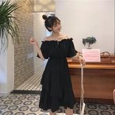 胖女孩百搭顯瘦洋裝女大碼女裝一字露肩減齡流行中長款仙女裙潮 極有家