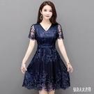 夏裝女蕾絲洋裝2020新款夏季女裝蕾絲裙短袖禮服氣質時尚裙子蓬蓬裙 HR231【俏美人大呎碼】