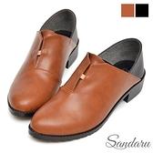 紳士鞋 兩穿復古V字低跟鞋-棕