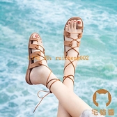 羅馬夾趾涼鞋女夏季平底鞋百搭休閒軟底度假沙灘鞋【橘社小鎮】
