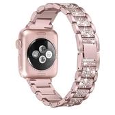 適用apple watch4代蘋果手錶表帶iwatch4/3/2/1不銹鋼鑲鑚防水潮 遇見生活