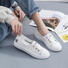 淺口小白鞋女學生夏季透氣百搭新款潮鞋板鞋一腳蹬軟底豆豆鞋 雙12全館免運