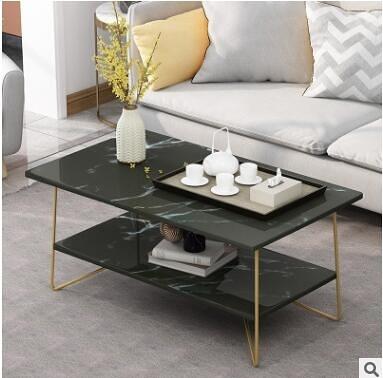 限時95折-雙層茶几創意小戶型客廳家用鐵藝大理石色小桌子輕奢邊幾【100cm】