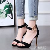 夏季新款韓版百搭高跟鞋細跟涼鞋性感夜店露趾一字扣金色女鞋   電購3C