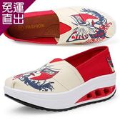 ALicE (預購)Y1025-6 俏麗圖騰撞色拼接健走鞋-紅【免運直出】