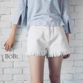 牛仔短褲  個性流蘇不收邊顯瘦牛仔短褲【MYDS114】 BOBI  06/23