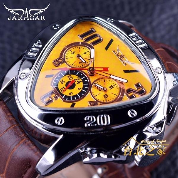 男士三角形六針個性多功能創意全自動機械錶酷炫賽車大錶盤腕錶潮xw