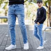 牛仔褲 微刷色小割破彈性合身版牛仔褲【NB0995J】