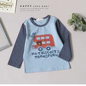 寶寶 趣味小熊搭公車上衣 可愛 動物 手繪 塗鴉 秋冬童裝 寶寶上衣 寶寶長袖 寶寶棉T 寶寶T恤
