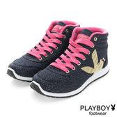 PLAYBOY 玩美風采 亮蔥拼接內增高休閒鞋-藍