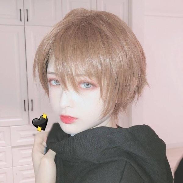假髮 lolita男短髮韓版帥氣日系原宿基佬短直髮男女萬用cos全頭套 優拓