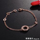 手鍊 手鍊女韓版簡約鍍玫瑰金圓環形個性閨蜜流行歐美時尚情侶首飾品 瑪麗蓮安