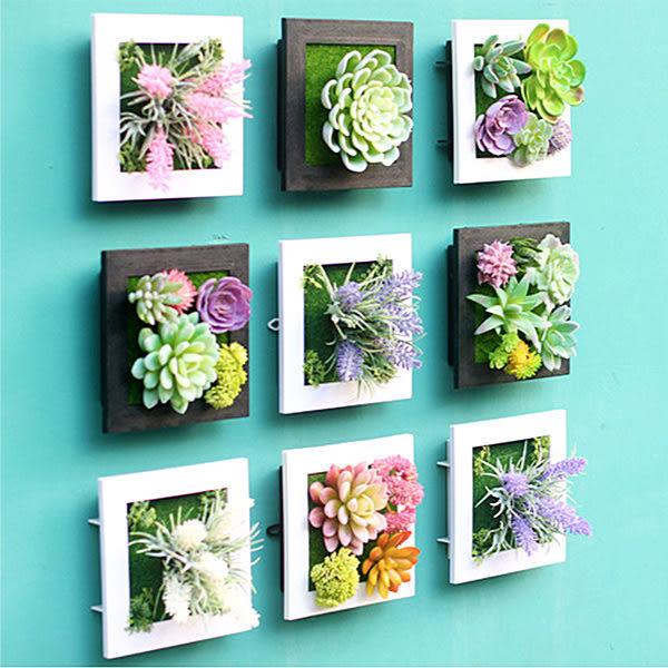 Qmishop 3D立體仿真多肉植物人造草盆栽牆飾掛飾 相框壁飾 壁掛【J649】