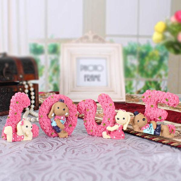 創意love樹脂娃娃小熊擺設品 交換禮物