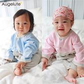 長袖連身衣 小動物 拼接造型 前開扣 男寶寶 女寶寶 爬服 哈衣 Augelute 70073