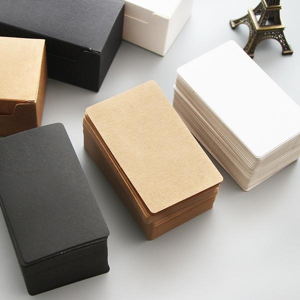 【00005】 文藝空白牛皮紙卡片 一盒80張 名片 單詞卡