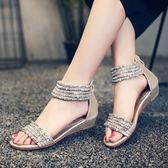 羅馬涼鞋 串珠水鉆坡跟低跟波西米亞羅馬風格后拉鏈露趾涼鞋 巴黎春天