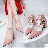 夏季女生尖頭高跟粗跟涼鞋YYY654『毛菇小象』