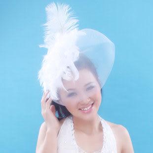韓式羽毛蕾絲頭飾 小禮帽發夾 網紗面紗發飾